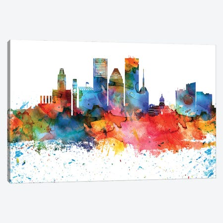 Baltimore Colorful Watercolor Skyline Canvas Print #WDA1263} by WallDecorAddict Canvas Art