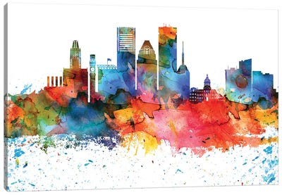 Baltimore Colorful Watercolor Skyline Canvas Art Print
