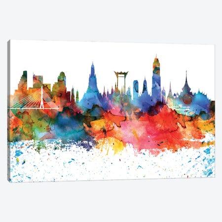 Bangkok Colorful Watercolor Skyline Canvas Print #WDA1264} by WallDecorAddict Canvas Print