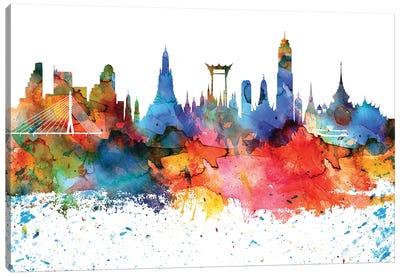 Bangkok Colorful Watercolor Skyline Canvas Art Print