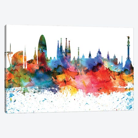 Barcelona Colorful Watercolor Skyline Canvas Print #WDA1265} by WallDecorAddict Canvas Art Print