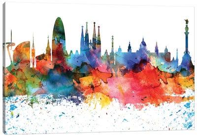 Barcelona Colorful Watercolor Skyline Canvas Art Print