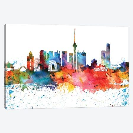 Beijing Colorful Watercolor Skyline Canvas Print #WDA1266} by WallDecorAddict Art Print