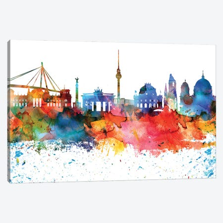 Berlin Colorful Watercolor Skyline Canvas Print #WDA1268} by WallDecorAddict Canvas Art