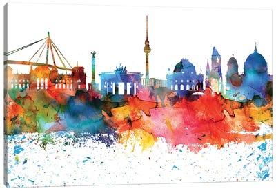 Berlin Colorful Watercolor Skyline Canvas Art Print