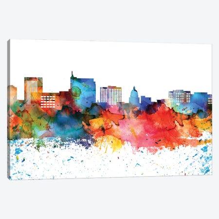 Boise Colorful Watercolor Skyline Canvas Print #WDA1269} by WallDecorAddict Canvas Art