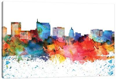 Boise Colorful Watercolor Skyline Canvas Art Print