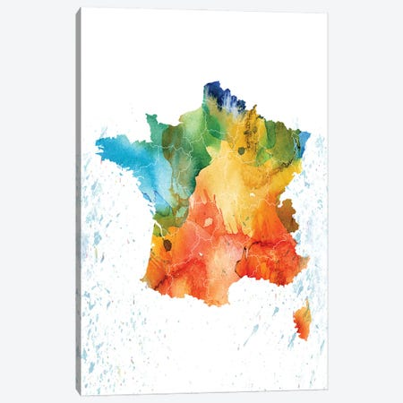 France Colorful Map Canvas Print #WDA126} by WallDecorAddict Art Print