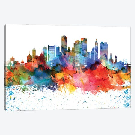 Boston Colorful Watercolor Skyline Canvas Print #WDA1270} by WallDecorAddict Canvas Print
