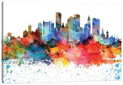 Boston Colorful Watercolor Skyline Canvas Art Print
