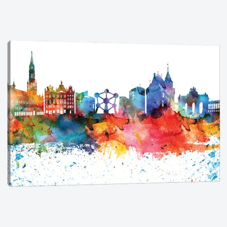 Brussels Colorful Watercolor Skyline Canvas Print #WDA1271} by WallDecorAddict Art Print