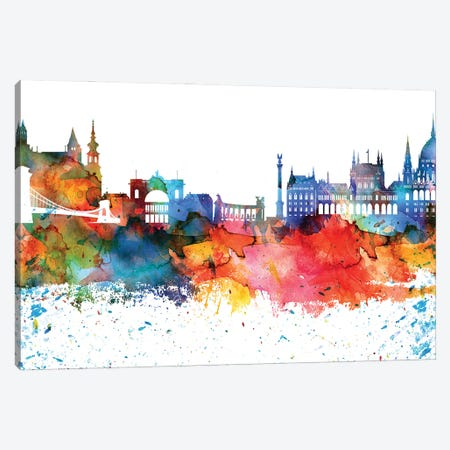 Budapest Colorful Watercolor Skyline Canvas Print #WDA1272} by WallDecorAddict Canvas Print