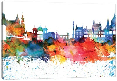 Budapest Colorful Watercolor Skyline Canvas Art Print