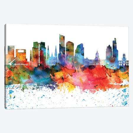 Buenos Aires Colorful Watercolor Skyline Canvas Print #WDA1273} by WallDecorAddict Art Print