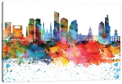 Buenos Aires Colorful Watercolor Skyline Canvas Art Print