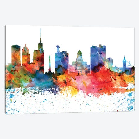Buffalo Colorful Watercolor Skyline Canvas Print #WDA1274} by WallDecorAddict Canvas Art