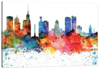Buffalo Colorful Watercolor Skyline Canvas Art Print