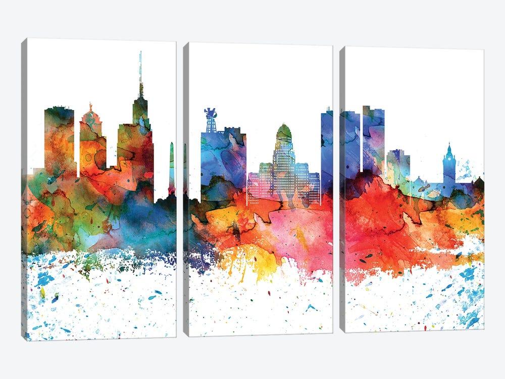 Buffalo Colorful Watercolor Skyline by WallDecorAddict 3-piece Canvas Artwork