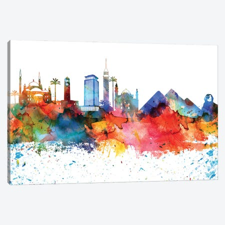 Cairo Colorful Watercolor Skyline Canvas Print #WDA1275} by WallDecorAddict Canvas Artwork