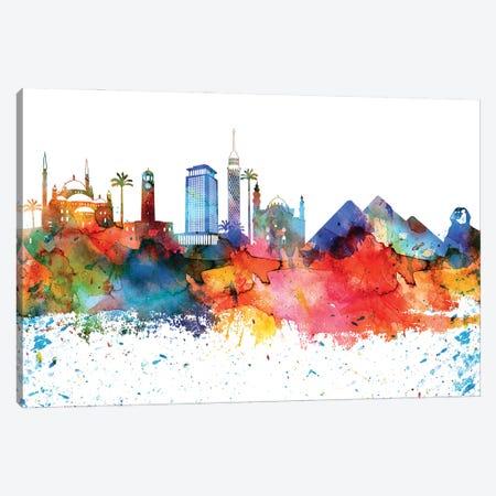 Cairo Colorful Watercolor Skyline Canvas Print #WDA1275} by WallDecorAddict Canvas Artwork