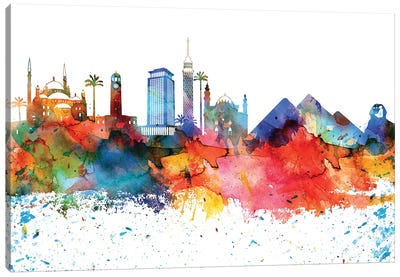 Cairo Colorful Watercolor Skyline Canvas Art Print