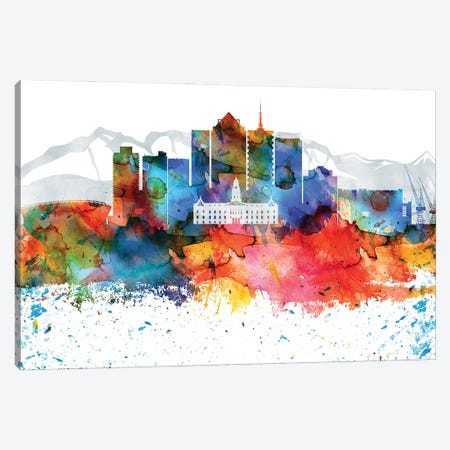 Cape Town Colorful Watercolor Skyline Canvas Print #WDA1277} by WallDecorAddict Canvas Wall Art