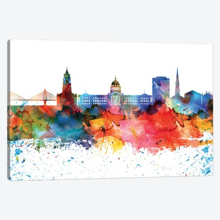 Charleston Colorful Watercolor Skyline Canvas Print #WDA1278} by WallDecorAddict Canvas Print