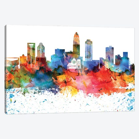 Charlotte Colorful Watercolor Skyline Canvas Print #WDA1279} by WallDecorAddict Art Print