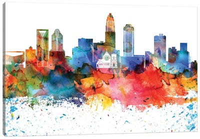 Charlotte Colorful Watercolor Skyline Canvas Art Print