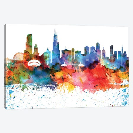 Chicago Colorful Watercolor Skyline Canvas Print #WDA1280} by WallDecorAddict Canvas Wall Art