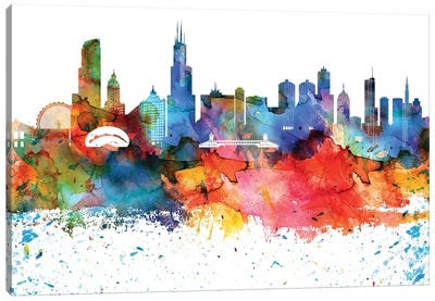 Chicago Colorful Watercolor Skyline Canvas Art Print