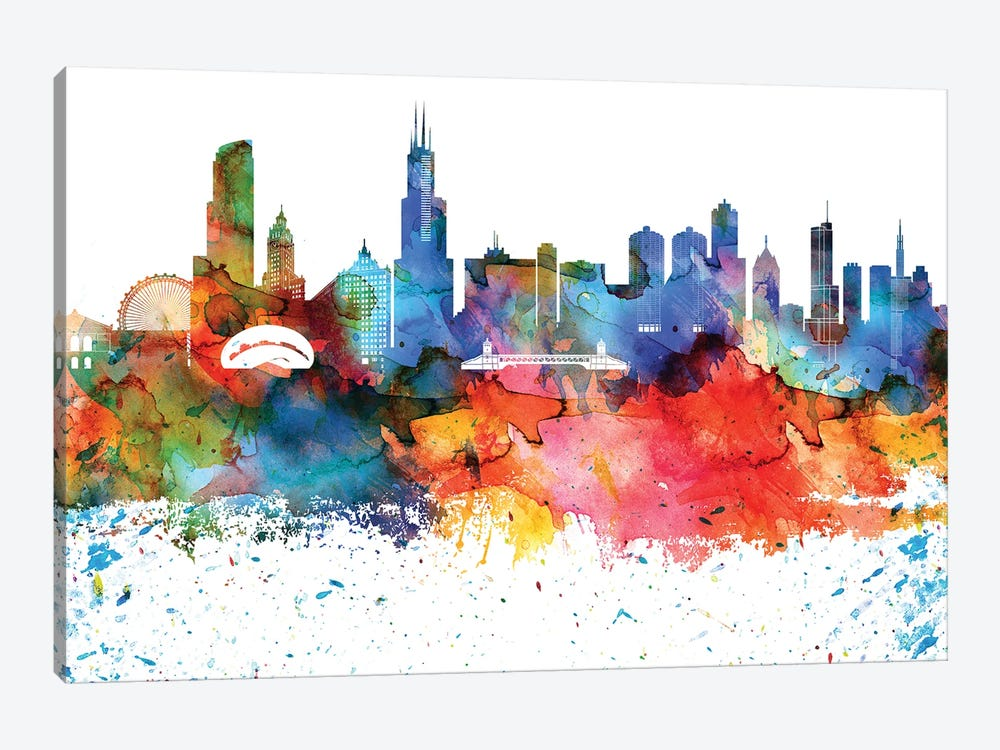 Chicago Colorful Watercolor Skyline by WallDecorAddict 1-piece Canvas Print