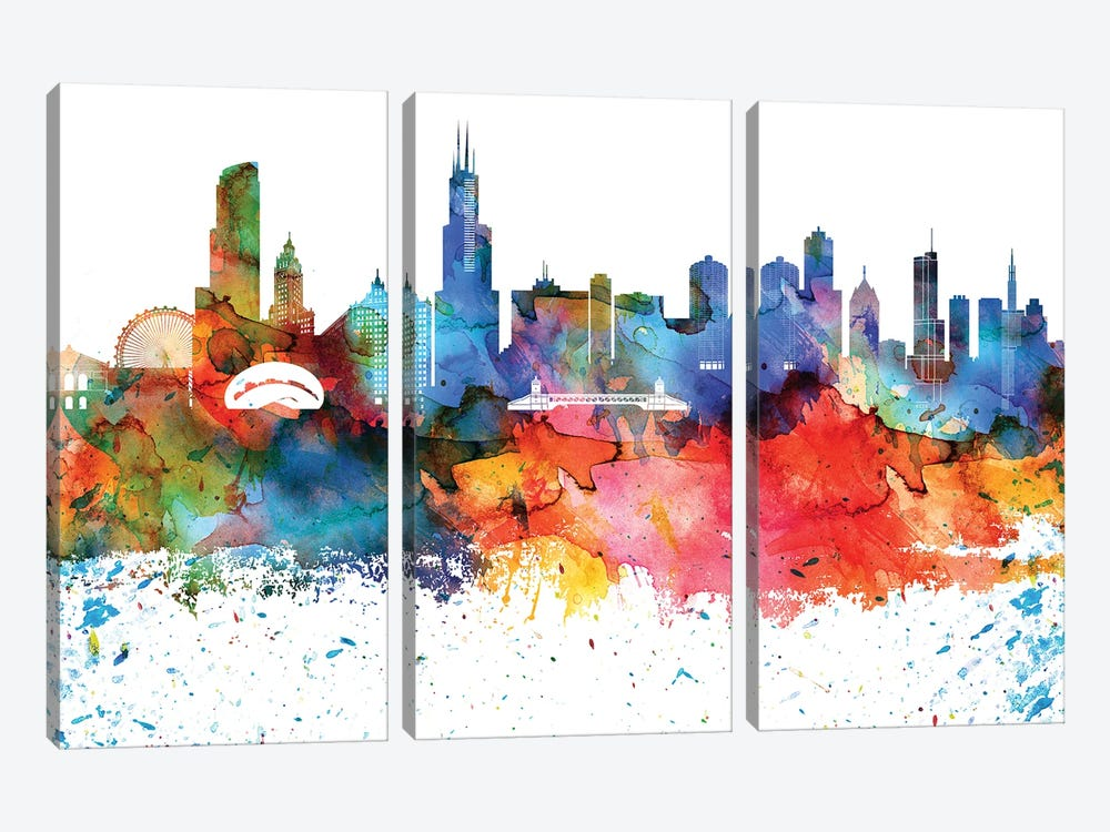 Chicago Colorful Watercolor Skyline by WallDecorAddict 3-piece Canvas Art Print
