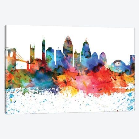 Cincinnati Colorful Watercolor Skyline Canvas Print #WDA1281} by WallDecorAddict Canvas Art