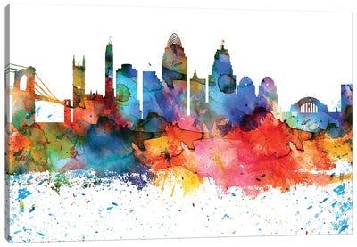 Cincinnati Colorful Watercolor Skyline Canvas Art Print