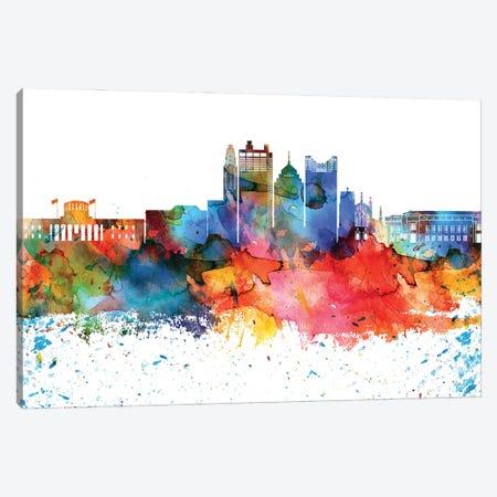 Columbus Colorful Watercolor Skyline Canvas Print #WDA1284} by WallDecorAddict Art Print