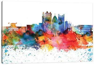 Columbus Colorful Watercolor Skyline Canvas Art Print