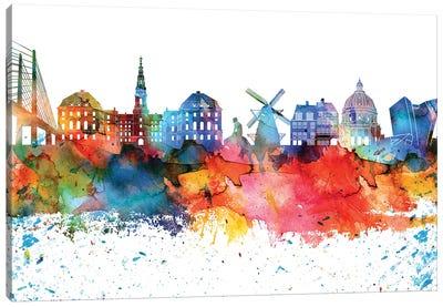Copenhagen Colorful Watercolor Skyline Canvas Art Print