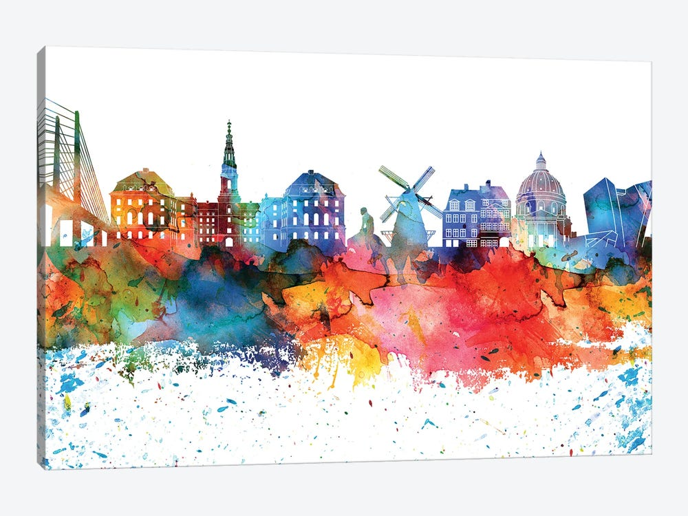 Copenhagen Colorful Watercolor Skyline by WallDecorAddict 1-piece Canvas Artwork