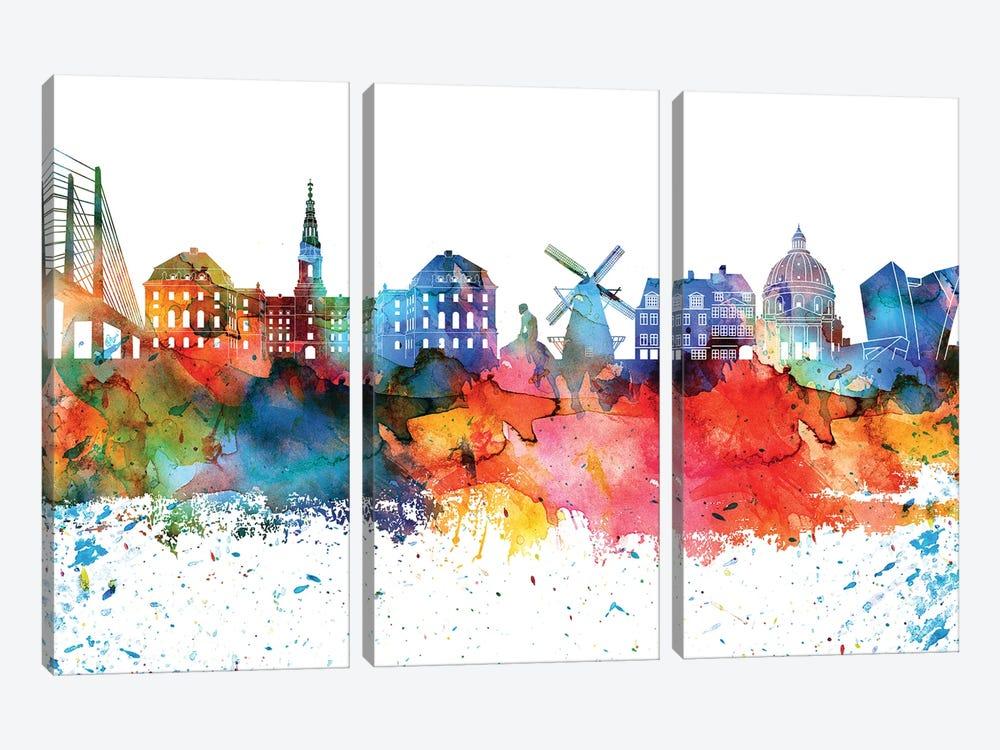 Copenhagen Colorful Watercolor Skyline by WallDecorAddict 3-piece Canvas Art