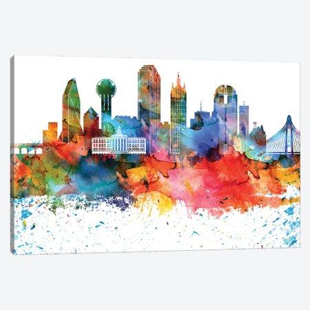 Dallas Colorful Watercolor Skyline Canvas Print #WDA1286} by WallDecorAddict Art Print