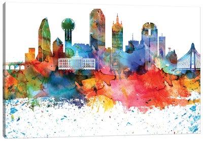 Dallas Colorful Watercolor Skyline Canvas Art Print