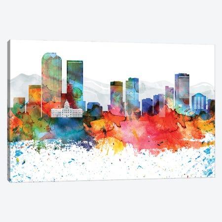Denver Colorful Watercolor Skyline Canvas Print #WDA1288} by WallDecorAddict Canvas Art