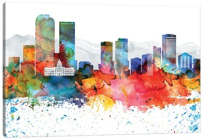 Denver Colorful Watercolor Skyline Canvas Art Print
