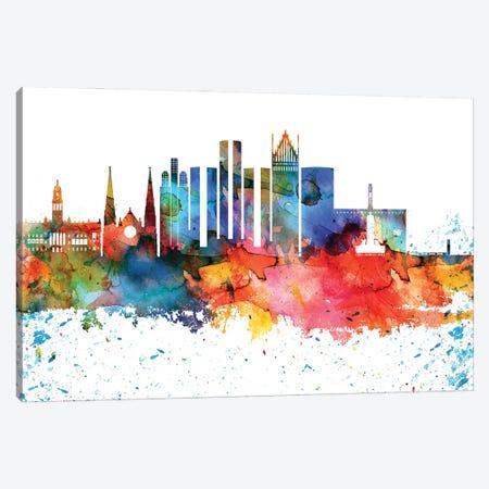 Detroit Colorful Watercolor Skyline Canvas Print #WDA1289} by WallDecorAddict Canvas Artwork