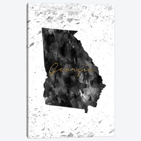 Georgia Black And White Gold Canvas Print #WDA128} by WallDecorAddict Canvas Art