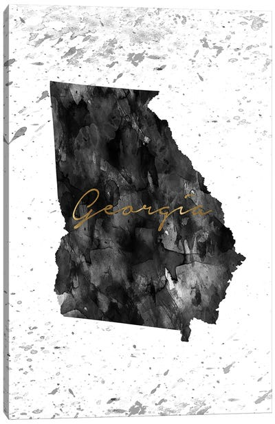 Georgia Black And White Gold Canvas Art Print