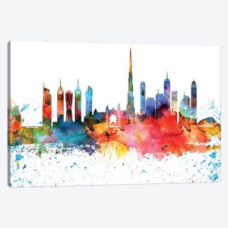 Dubai Colorful Watercolor Skyline Canvas Print #WDA1290} by WallDecorAddict Art Print