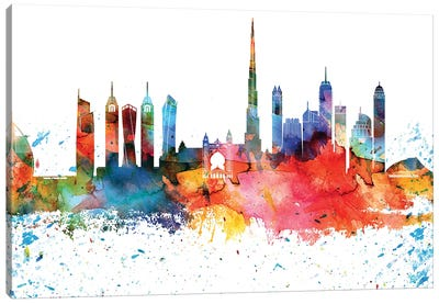 Dubai Colorful Watercolor Skyline Canvas Art Print