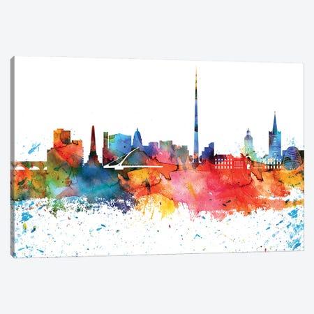 Dublin Colorful Watercolor Skyline Canvas Print #WDA1291} by WallDecorAddict Canvas Print